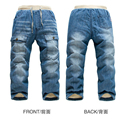 Hot KK-RABBIT winter kids warm jeans baby boys camoFleece jeans thick warm children jeans for girl kids pants