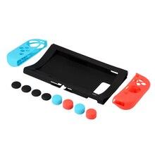 10 pçs silicone macio gamepad escudo + console capa protetora + manivela apertos joystick capa para interruptor ny joy con