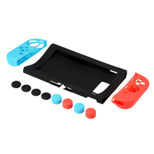 10PCS soft silicone gamepad shell+console protective cover case +thumbstick grips joystick cap cover for switch NY Joy con