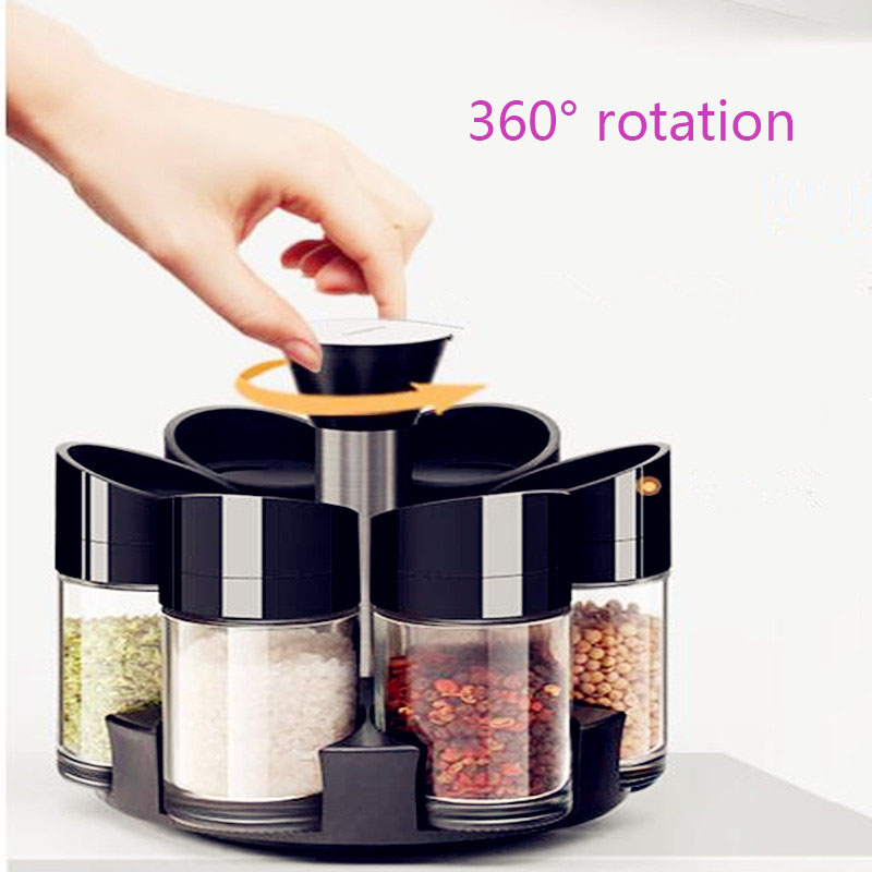 2019 New Creative Rotating Kitchen Seasoning Bottle Cruet Set / Cruet (8), Seasoning Rack (1) / Seasoning Box 9pcs/set