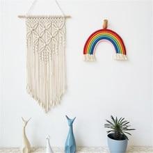 DIY Бохо макраме настенный гобелен тканый Handmde настенное искусство макраме хлопок резьба кулон Ins фон домашний декор лучший подарок