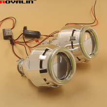 2.5 Automobiles External Lights Lenses DRL HID Bi Xenon H1 Projector Headlight Lens with White LEDs COB Angel Eyes for H4 H7 Car