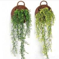 2017 1 pz Nuova Simulazione Ivy Salotto Decorato Con Foglie di Fiori Piante di Plastica Della Casa Della Parete Hanging Chlorophytum Rattan