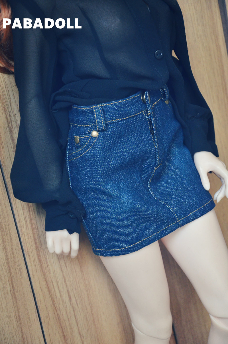 Jeans Skirt for BJD Doll 1/4 1/3 SD10/13,SD16 IP EID Doll Clothes Customized CWB62 new bjd doll jeans lace dress for bjd doll 1 6yosd 1 4 msd 1 3 sd10 sd13 sd16 ip eid luts dod sd doll clothes cwb21