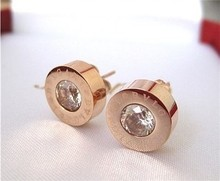 Martick Hot Sale High Quality Fashion Jewelry Stainless Steel Round Shine AAA Zirconia 8MM Diameter Stud Earrings For Women