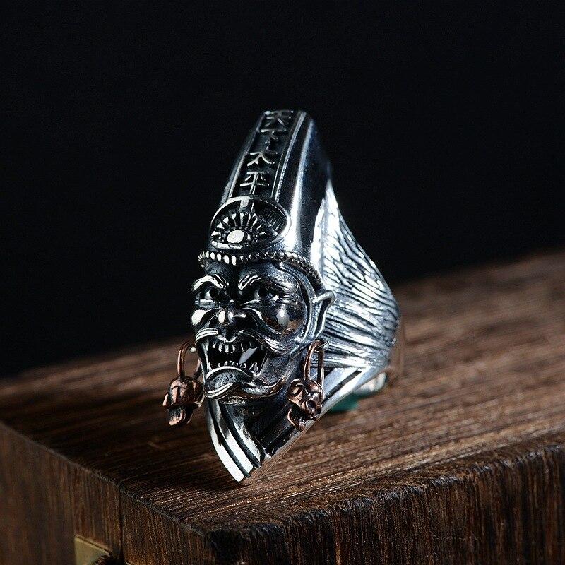 FNJ 925 anneau de crâne en argent nouvelle mode Punk squelette S925 Sterling Thai anneaux en argent pour hommes bijoux taille réglable-in Anneaux from Bijoux et Accessoires    1