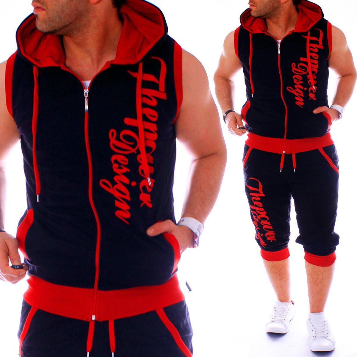 ZOGAA Men Sweatsuits Casual Mens Jogger Set 2 Piece Sleeveless Hoodies With Shorts Set Letter Printed Tracksuit For Men Clothing