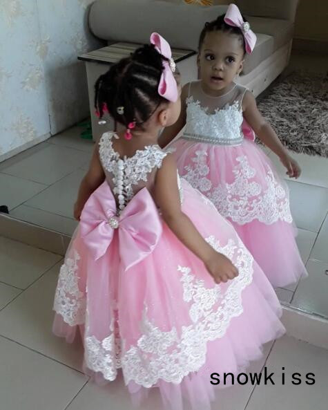 Puffy pink tulle tutu flower girl dress baby kids 1st birthday wedding party ball gowns princess prom with bow laces for evening kids fashion comfortable bridesmaid clothes tulle tutu flower girl prom dress baby girls wedding birthday lace chiffon dresses