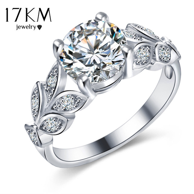 17km New Silver Color Leaf Flower Wedding Rings For Women Lover Bijoux Anel Femme Engagement Ring