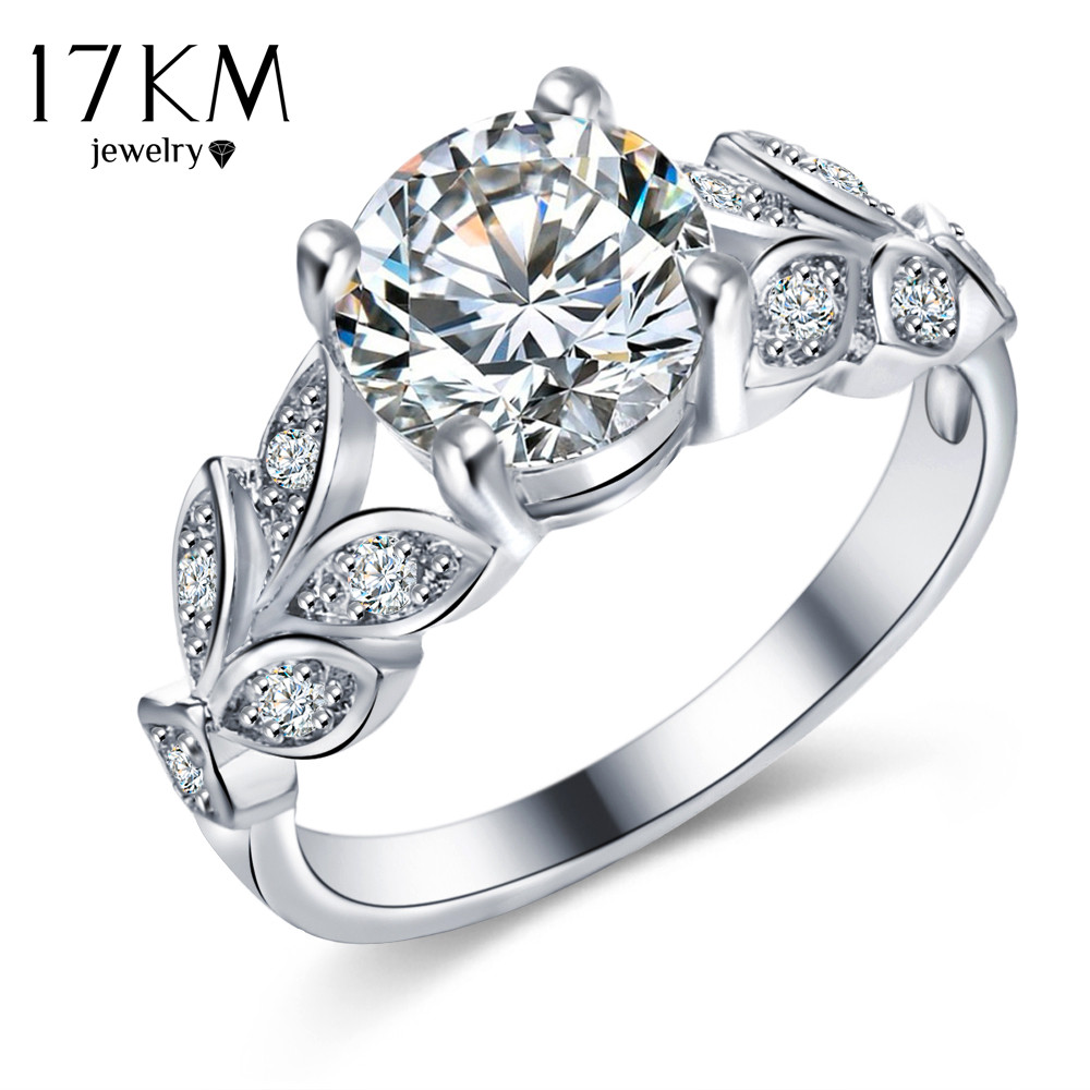 17km silver color crystal flower wedding rings for women jewelry bague bijoux rose gold color femme engagement ring accessories - Flower Wedding Rings