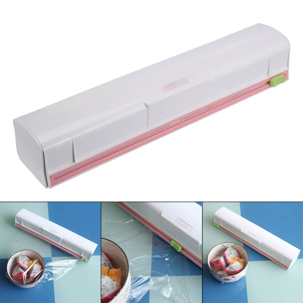 Food Wrap Dispenser Plastic Cutter Foil Cling Film Storage Holder Bar Kitchen HY