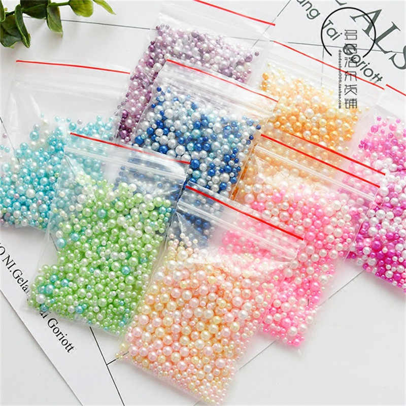 500 Pcs Slime Beads Artificial Pearl Fluffy Slime Filler Decoration Colorful Slime Charm