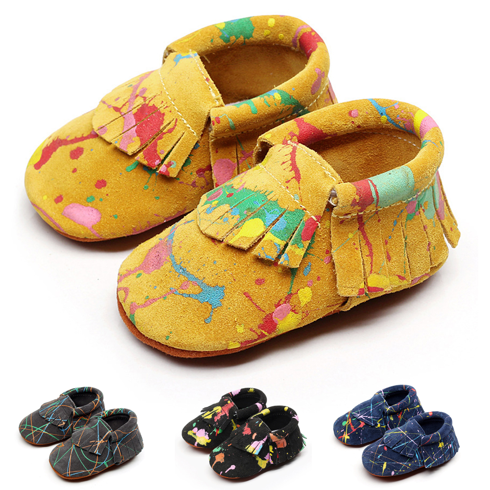 Baby Shoes Leather Newborn Baby Boy Girl Baby Moccasins Soft Moccs Shoes Fringe Soft Soled Non-slip Footwear Crib Shoes