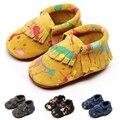 0-18 m 4 colores bbay franja mocasines slip-on de cuero genuinu suave zapato de bebé suave zapatos-calzado antideslizante amarillo negro azul gris
