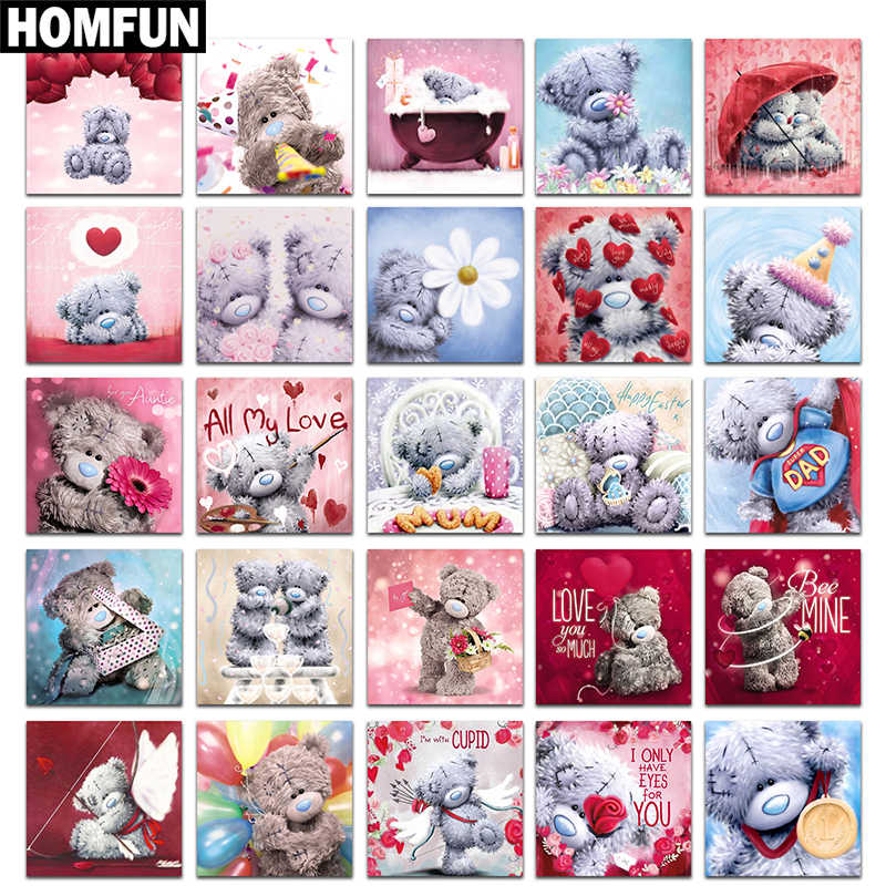 "HOMFUN Voller Diamanten ""Cartoon bär"" DIY 5D Diamant Malerei Kreuz Stich Home Decor Bild Von Strass Handmade"