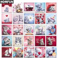 "HOMFUN Full Diamond ""Cartoon bear"" DIY 5D Diamond Painting Cross Stitch Home Decor Picture Of Rhinestone Handmade"