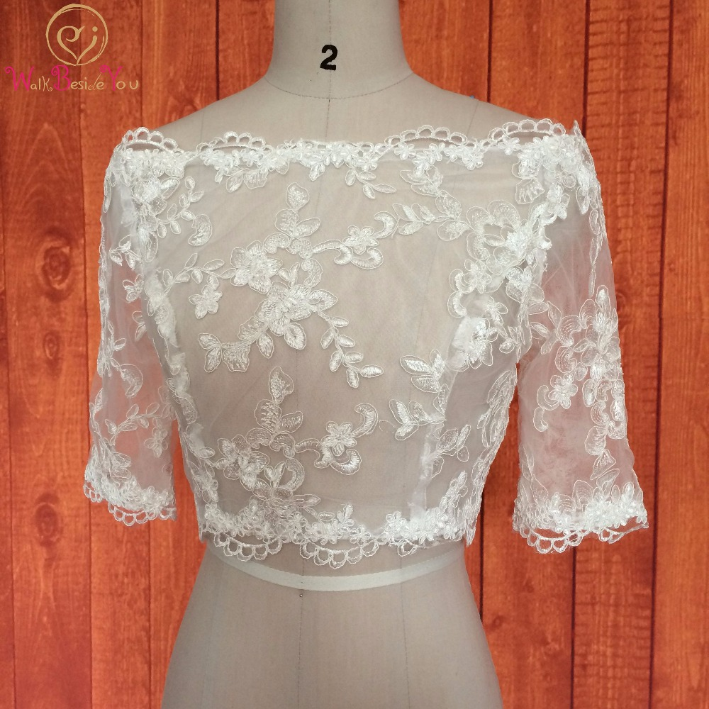 White Lace Wedding Bolero Cape Mariage Off the Shoulder Wedding Wrap Jacket 3/4 Long Sleeves 2017 Bridal Wraps Custom Made