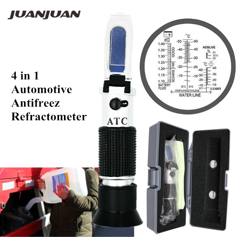 4 In 1 Hand Held Car Refractometer Vehicle Urea Tester 30-35% Adblue Fluid Glycol Battery Antifreeze With Retail Box 36%off