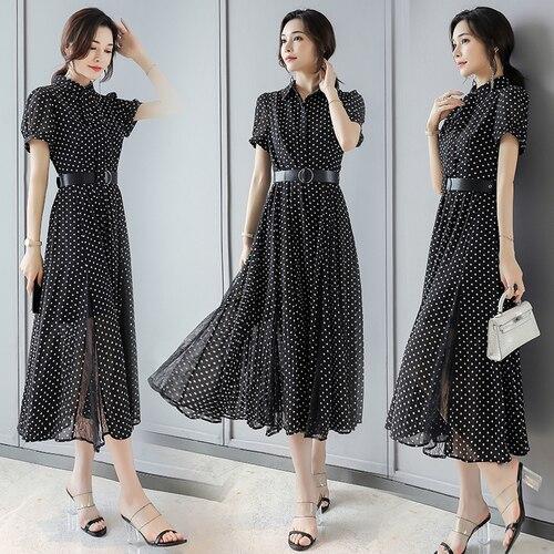 Col claudine manches courtes longues femmes robe dentelle mode mousseline de soie grande taille femmes robes coréenne Patchwork arc Drees Long