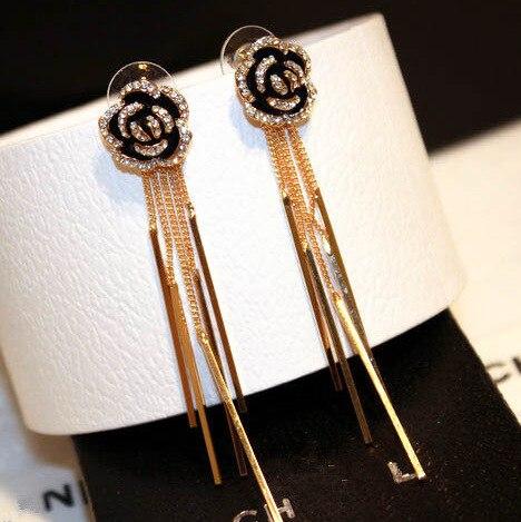 Cristal camélia fleur Long gland Dangle boucles d'oreilles brincos boucles d'oreilles bijoux boucles d'oreilles pour les femmes