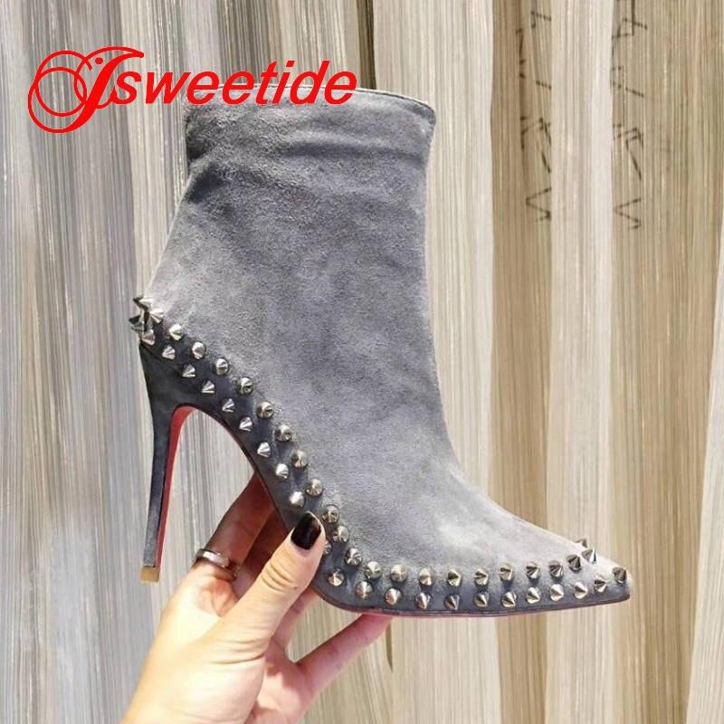 Zapatos Tobillo Plata Mujeres Botas Remache b1 Marca Las Tachonado Mujer Moda A1 Spikes De Y La Para Negro Correa ZIqfq