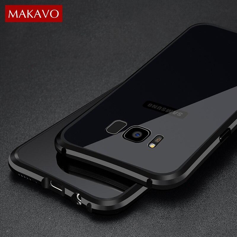 Цена за Роскошный чехол для Samsung Galaxy S8/S8 плюс 2 в 1 тонкий металлический Рамка + акрил задняя крышка Анти -стук царапинам жесткий Корпус