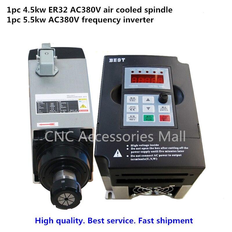Moteur de broche CNC refroidi par Air moteur de broche 4.5KW ER32 AC380V & 5.5kw VFD/inverseur pilote de fréquence variable
