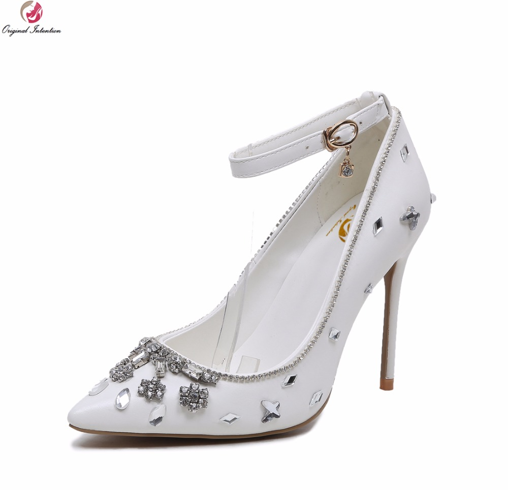 Original Intention Elegant Women Wedding Pumps Rhinestone Pointed Toe Thin High Heels Pumps White Shoes Woman Plus Size 3-10.5 bowknot pointed toe women pumps flock leather woman thin high heels wedding shoes 2017 new fashion shoes plus size 41 42