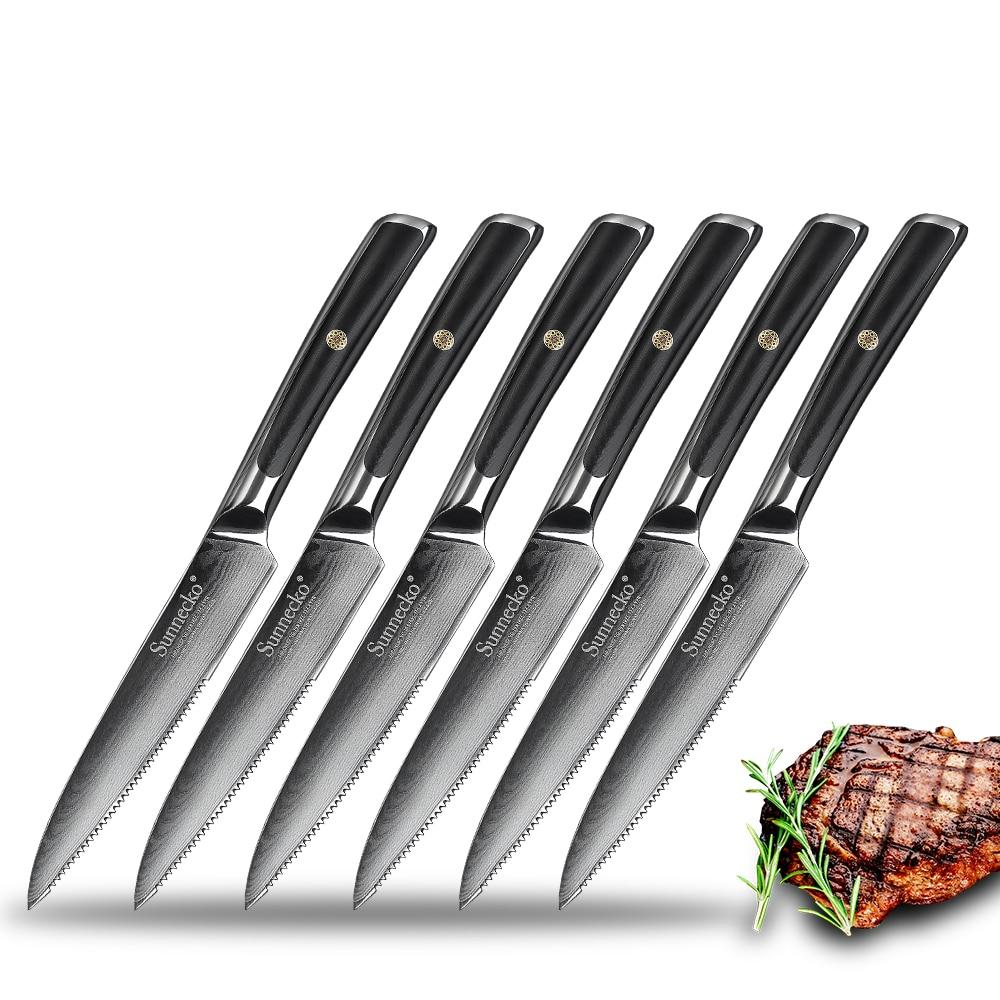 SUNNECKO 6pcs Damascus Steel Steak Knife Set Gift Box Japanese VG10 Core Blade G10 Handle Chef