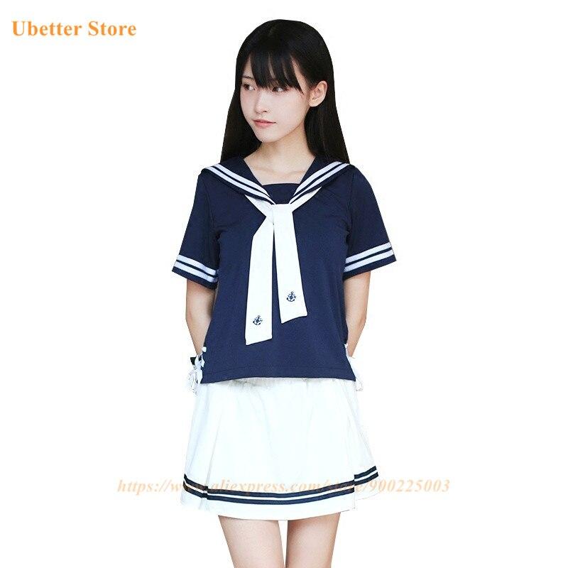 Ubetter Girls Japanese School Uniform JK Navy Sailor Uniform Graduation Clothing High School Students Sets U002