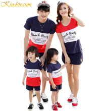 Kindstraum 2017 Family Matching Outfits Casual Father Mother Kids T-shirt+Shorts+Skirts Printed Summer Clothing Sets, MC484