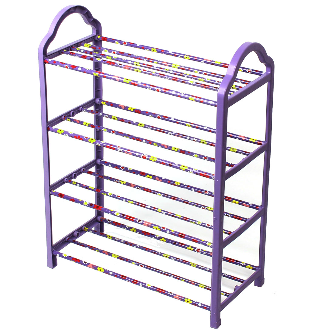 Household Plastic 4 Layers Detachable Storage Organizer Holder Shelf Shoes Rack Purple