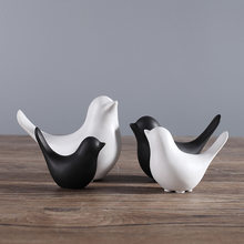 European style Contemporary Decoration craft and contracted desktop decoration minimalist black and white ceramic bird(China)