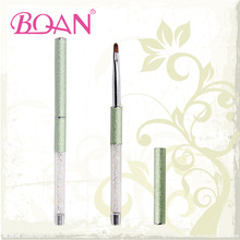 BQAN 2016 New Design Wrinkle Handle With Diamond Inside Oval Imported Nylon Hair Nail Art Gel Brush Pure Color Free Shipping