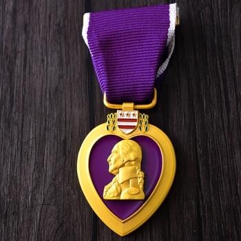 Превосходное качество американская армия США фиолетовое сердце военная медаль нагрудный бейдж cllection нагрудные медали с коробка с лентой ук... >> ozdsports Store
