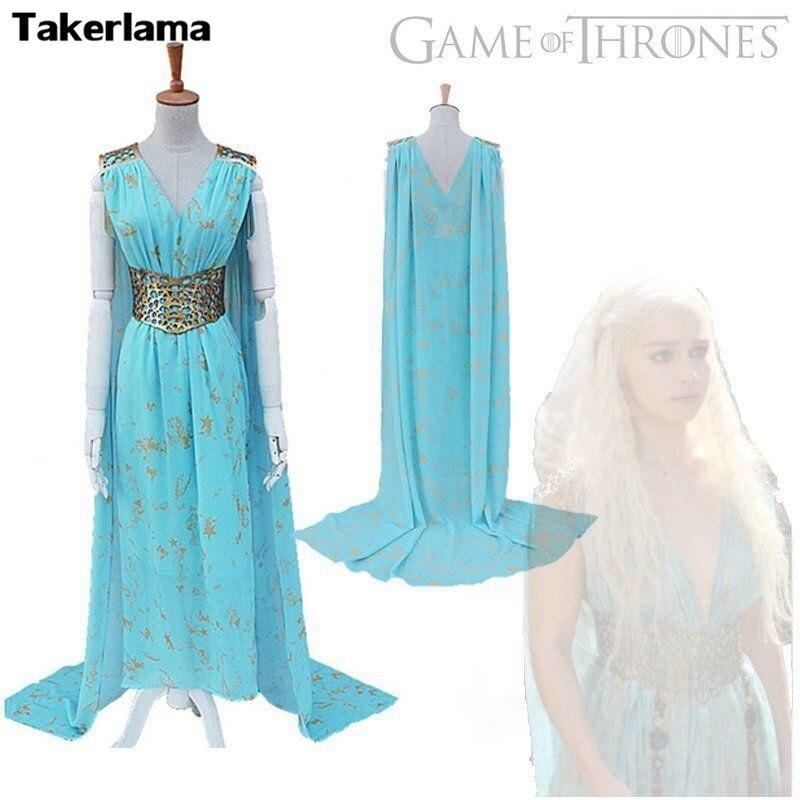 Takerlama Halloween Game of Thrones Cosplay Daenerys Targaryen Qarth Dress Party Costume Wedding Party Dress halloween game of thrones daenerys targaryen qarth dress party cosplay costume and wig