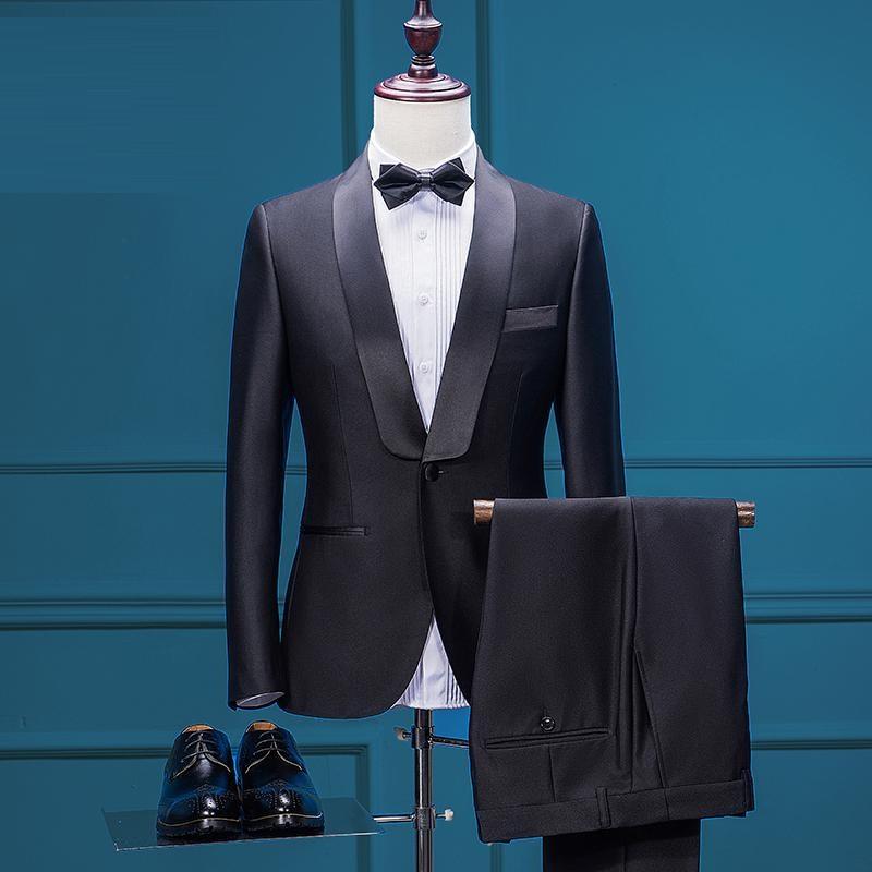 AIMENWANT Mens Jacket+Pants Set Custom Made Tuxedo Dress Suits Black ...