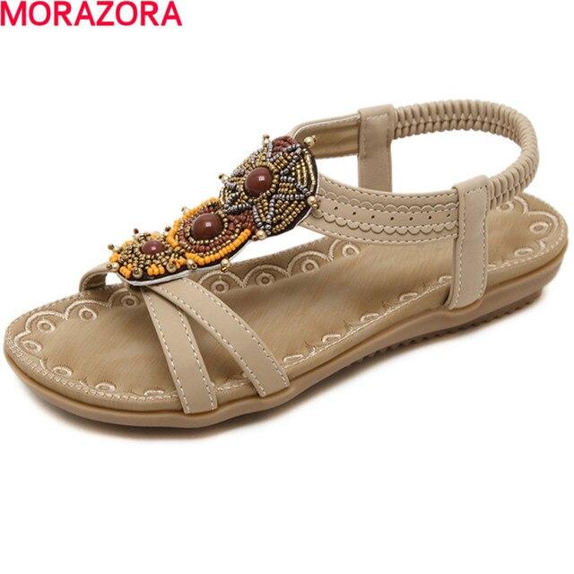 MORAZORA beading summer shoes PU women ethnic style fashion party shoes elastic band platform shoes big size 35-42