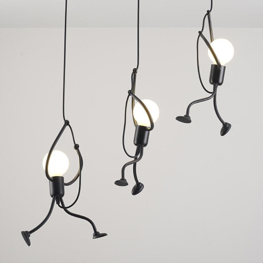 현대 크리 에이 티브 교수형 펜 던 트 조명 철 사람들 램프 우아한 옷걸이 luminaire 가변 높이 e27 전구 220 v
