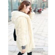 black/beige 2013 autumn winter thickening warm women medium long fur outerwear stripes hood faux fur coat S-XXL free ship D2129