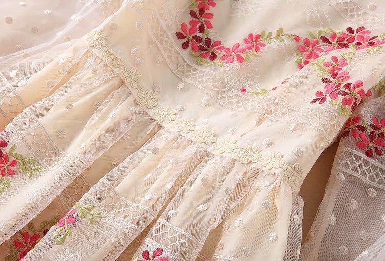 Gaze Manches Printemps Longue Broderie Lvydala Fée Lanterne Robe Slim Robes Rétro Taille Vent Longues Nouveau D'été Princesse qXzzPfw6