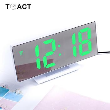 Светодиодный цифровой будильник с зеркалом, электронные часы, настольные часы с будильником, многофункциональные часы для сна, большой светодиодный дисплей, подарок