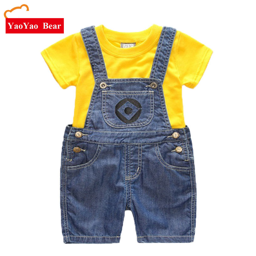 Boys Girls Set Children's Denim Shorts Suit Kids Clothes T Shirt And 2pc Minions Clothing Summer Children Enfant Roupas Menino