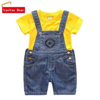 5603be47d4058 Erkek Kız Set çocuk Denim Şort Takım Çocuk Giysi T Shirt 2 pc Minions Giyim  Yaz Çocuk Enfant Roupas menino 1-7Y
