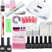 Nail Set for Manicure Nail Extension UV Gel Manicure Kit 6 Colors Gel Polish &Base Top Coat Nail Kits 54W/48W/36W