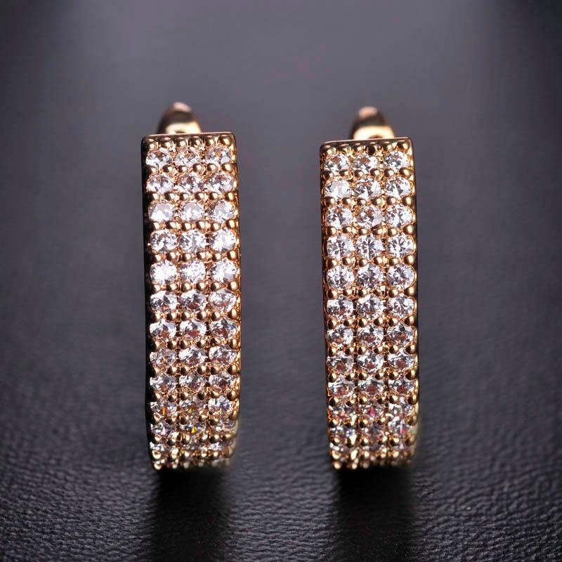 MECHOSEN Hot Jual Cubic Zirconia Stud Earrings Wanita Emas-warna - Perhiasan fashion - Foto 4