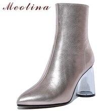 Meotina Genuine Leather Ankle Boots Women Transparent Round Heels Short Boots Cow Leather Zip Super High Heel Shoes Ladies 34-39 цена в Москве и Питере