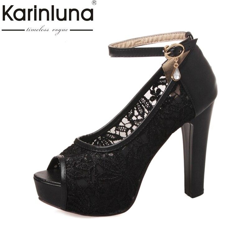 KARINLUNA 2017 big size 32 43 peep toe platform women sandals ankle strap lace upper super