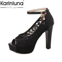 KARINLUNA 2017 big size 32-43 peep toe platform women sandals ankle strap lace upper super high heeled party wedding shoes