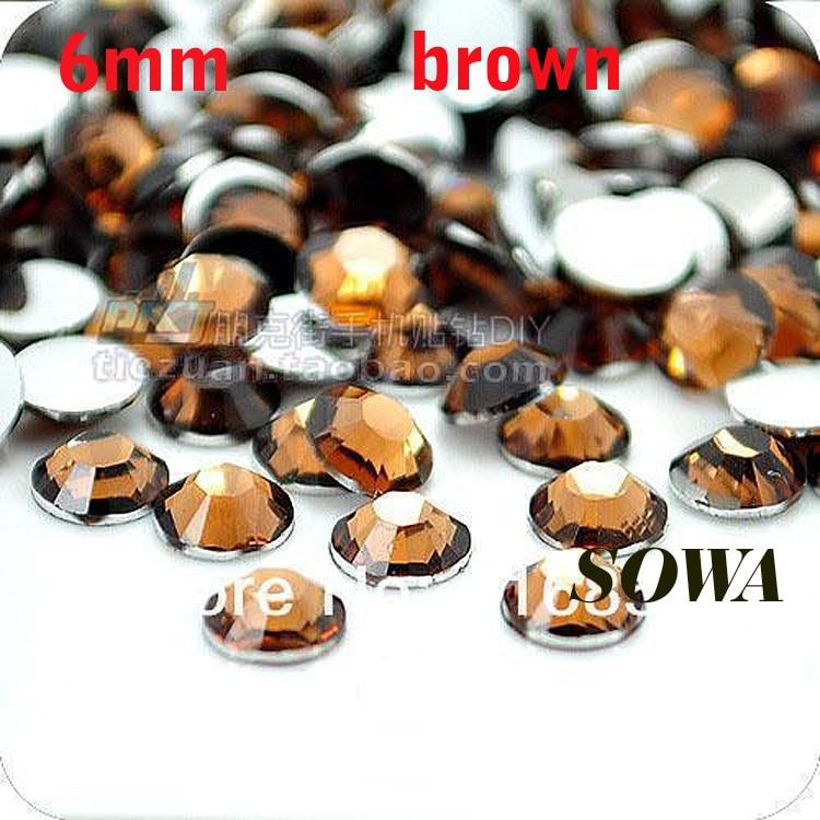 Бесплатная доставка 500 шт./пакет SS30 Размеры 6 мм коричневый Цвет Смола Flatback бусины, Дизайн ногтей бусины, DIY Свадебные украшения